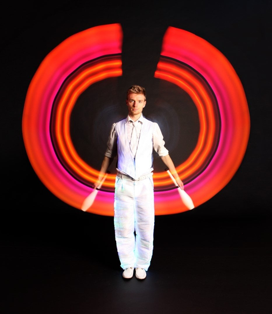 Red LED Juggling Show